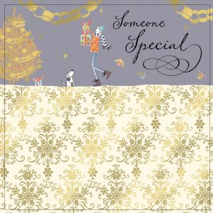 Someone Special Christmas Card with Gold Foiling, Contemporary Design and Red Envelope KIS36